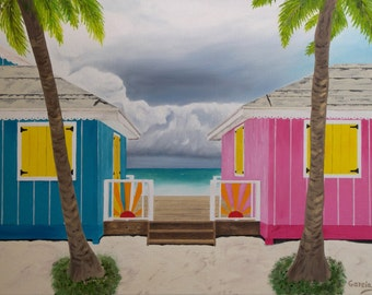 "Beach Huts Oil Painting, Beach Huts, Colorful, Caribbean, Turks & Caicos, Original Oil Painting - ""Caribbean Shelter"" (18"" x 24"")"