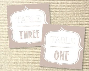 Printable Vintage Wedding Table Numbers