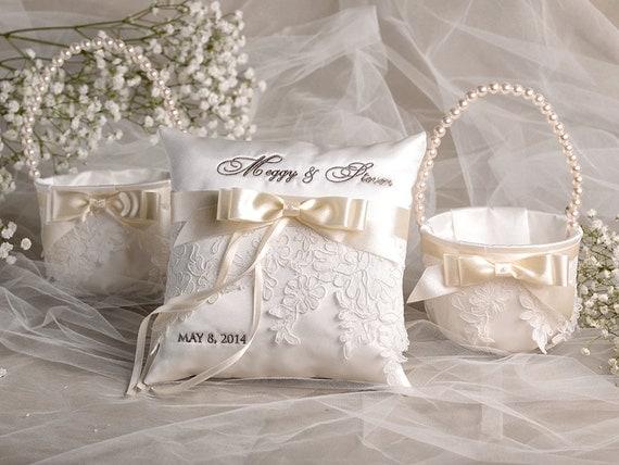 Flower Girl Baskets And Ring Pillows : Flower girl basket ring bearer pillow set by