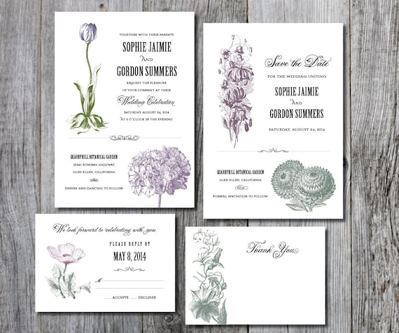 Printable Wedding Invitation Suite, Botanical Wedding Invitations, Printable Rustic Wedding Set, Printable Rustic Wedding Invitation