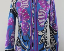 Gorgeous Vintage EMILIO PUCCI Silk Printed Blouse Long Sleeve Button Front in Excellent Condition With Sensational Multi Colored Print