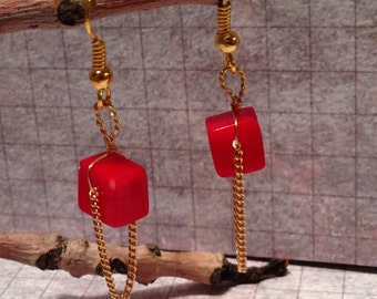 Red Coral Gold Earrings