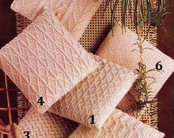 Aran Fishermans Knitted Cushion Covers 6 styles  14 x 14 inches - Vintage Knitting Pattern - PDF Instant Download