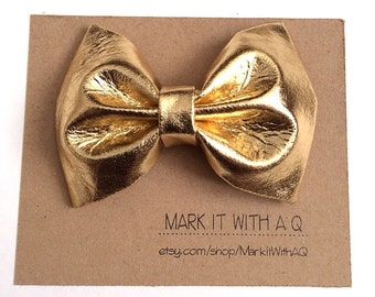 Gold Pleather Bow