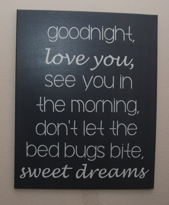 Good Morning Love Bed : Custom canvas quote wall art sign good night love you see