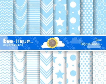 Pale Blue Digital Scrapbooking Papers for Instant Download. Scrap book digital papers. Scrapbooking PDF. Blue Scrapbooking printables