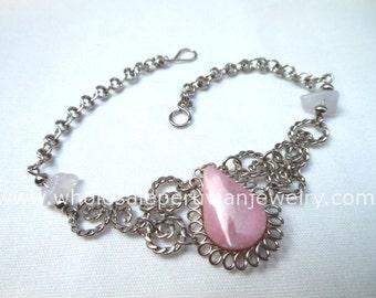 Pink Rose Quartz Teardrop Alpaca Silver Curls Bracelet Peruvian Jewelry - Handmade in Peru