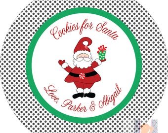 Personalized Santa Polka Dot Cookie Kids Plate. Start a FUN holiday tradition with a plate customized with your family name. Great for gifts