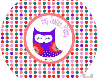 Big sister monogrammed owl melamine dinner plate.   A custom, fun and UNIQUE gift idea! Kids love eating on personalized plates!