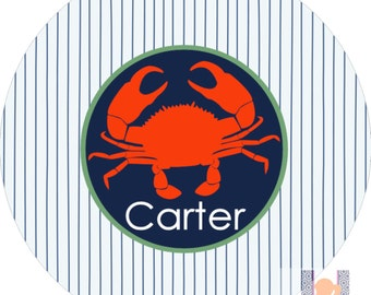 Monogrammed boys crab seersucker navy and orange dinner plate.  A custom, fun and UNIQUE gift idea! Kids love eating on personalized plates!