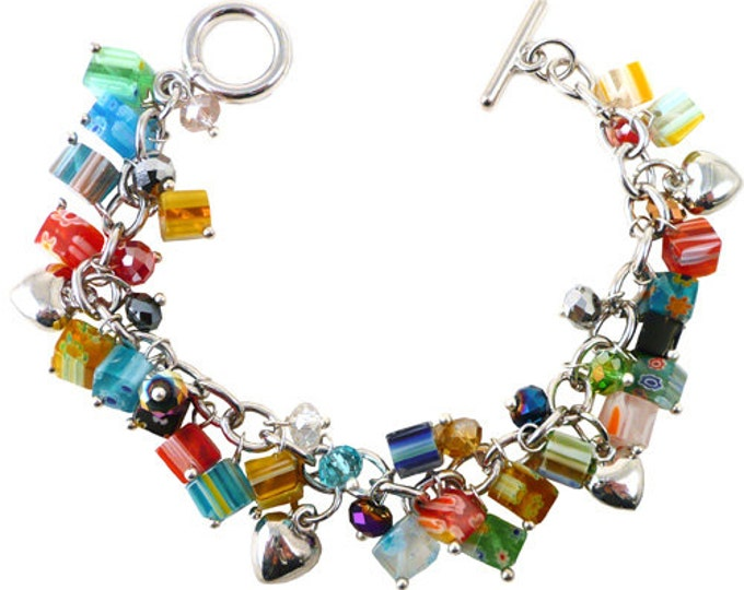 Millefiori Bead Charm Bracelet with silver tone hearts