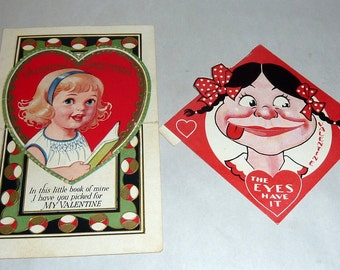 2 Vintage 1930's Paper Valentine Cards Mechanical Moveable Eyes & Cut Out Heart