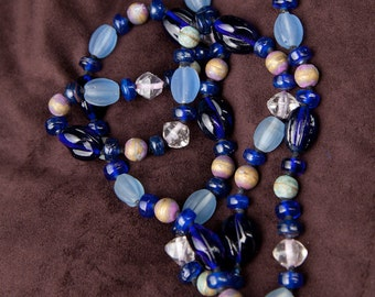 Blue Glass Bead Necklace, Vintage
