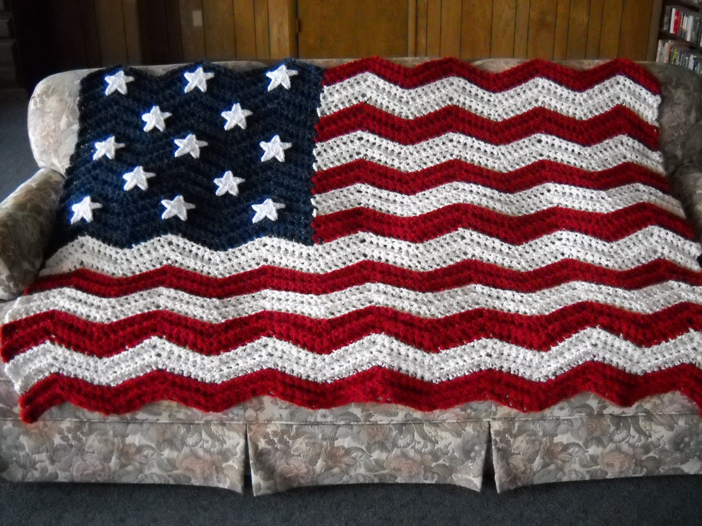 Free Crochet Pattern Of American Flag : American Flag Afghan Handmade Ripple Crochet Original 13