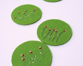 Little Flowers... Green Circle Felt Coaster Set of 4... Hand Made With Love... - StudioJolly