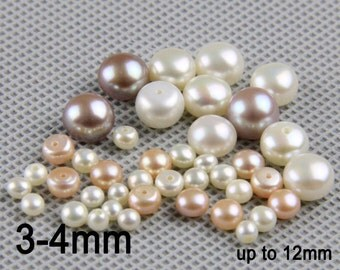 10pcs,3-4mm loose button pearl pairs,freshwater pearl button bead for handmade pearl jewelry pearl stud earring material ivory white  LP001