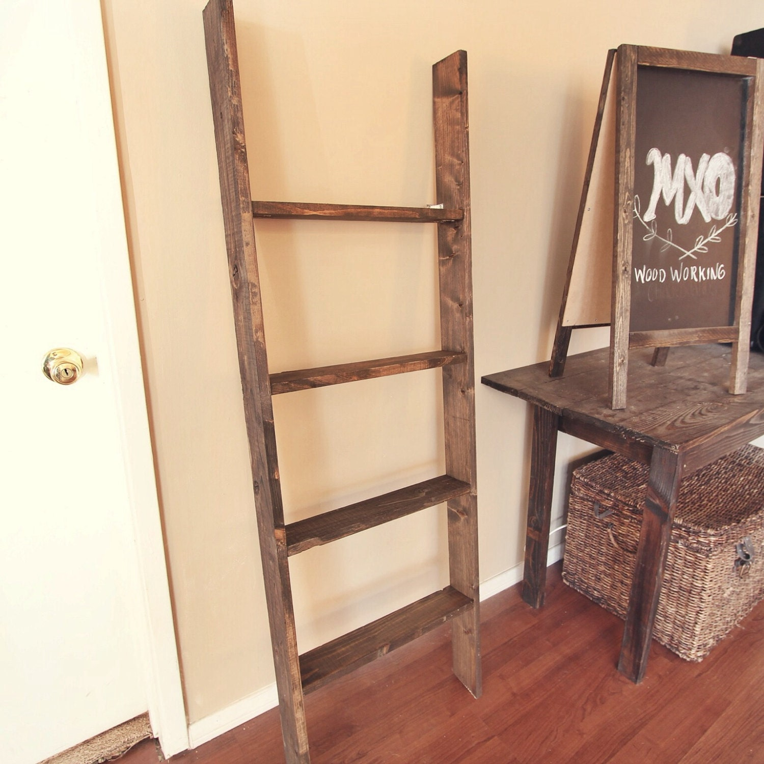Items similar to large rustic reclaimed wood shelf ladder - Reclaimed wood ladder shelf ...