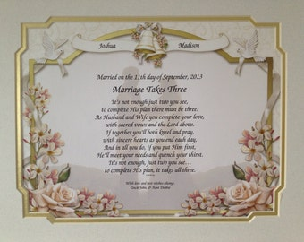 Wedding Gift Personalized Poem Bride Groom Couple Marriage Takes Three ...