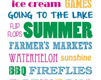 Summer Word Art Print