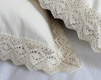 Cream Colour Cotton pillow case / Cotton Lace Guipure Trimmed Bedding Pillow cover / Full Euro Queen King Size Sham