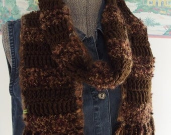 Crochet Handmade Scarf Brown Chocolate Caramel Soft Thick Cozy Warm