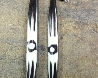 Kenyan Batik Wood Bone Earrings
