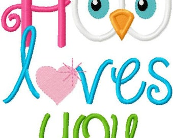 Valentine's Day Embroidery Applique Design Hoo Loves You with heart and Owl Digital Instant Download 4x4 and 5x7