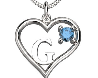 "BirthStone  Heart Letter G Sterling Silver Pendant &18"" Necklace December Blue Zircon"