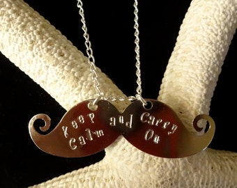 Fun and Trendy Moustache Stay Calm and Carry On Necklace