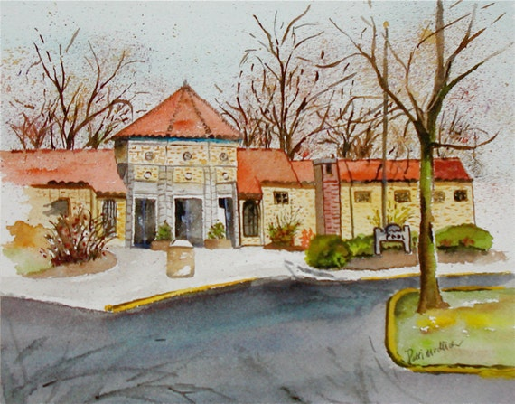 Items Similar To Grandview Heights City Pool Art Print From Original Watercolor On Etsy