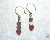 Cody - antique brass tone earrings, hemalyke, grey cats eye, jasper hearts - All donated to animal charity