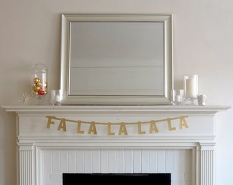 Fa La La La La Gold Glitter Banner Christmas Garland Decoration