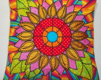 Amazing, machine embroidered, crazy patchwork, abstract sunflower cushion, throw pillow cover approx.18in 18in.
