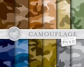 CAMOUFLAGE Digital Paper: Camouflage Printable Pattern Print, Camouflage Download, 8 1/2 x 11 Camo Patterns Backgrounds Scrapbook Print