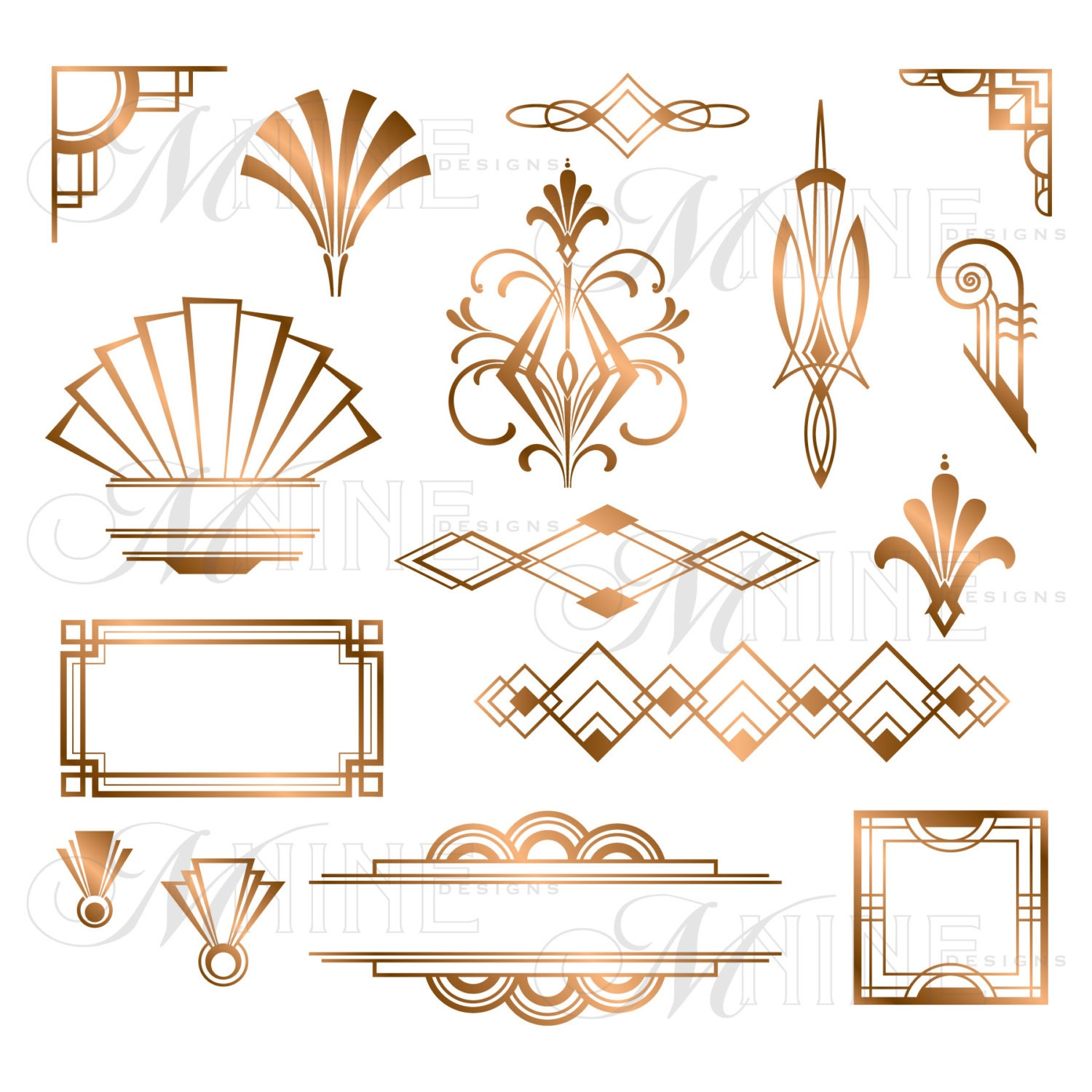 Bronze art deco accents clipart design elements by - Art deco design elements ...