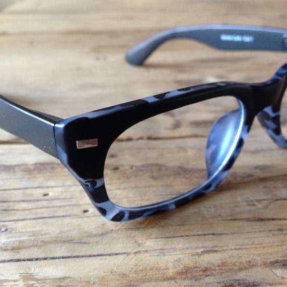 matte tortoise grey and black wayfarer eyeglasses by