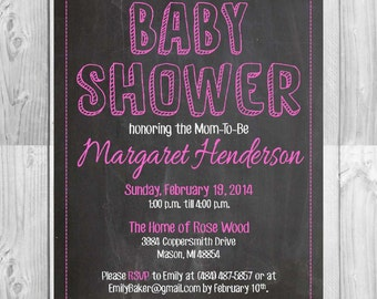 Printable Baby Shower Chalkboard Invitation | Multiple Colors | Size: 5x7 | *Digital File* | by MMasonDesigns