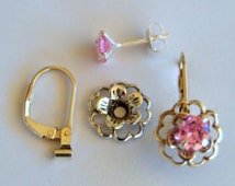 Pink Silver Earring Jacket Set Includes Pink Cubic Zirconia Posts Silver Flower Style Earring  Jacket and Earring Convertible