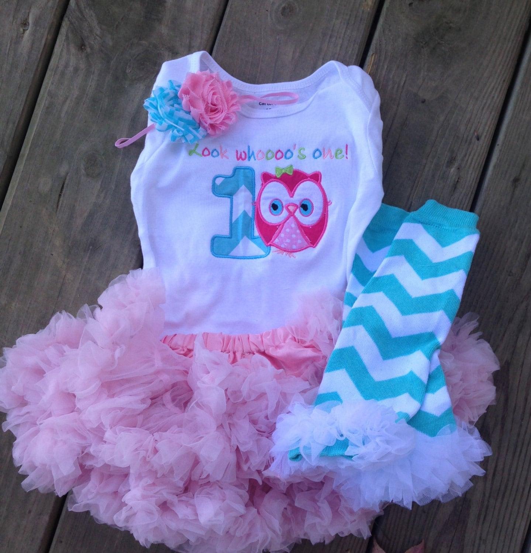 Pink And Aqua Chevron Owl Birthday Outfit 1st Birthday