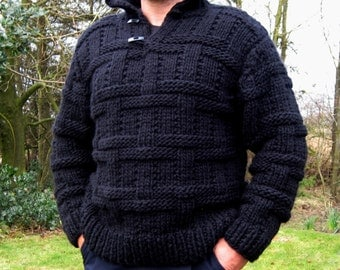 Men's hand knitted wool  jumper sweater made to order