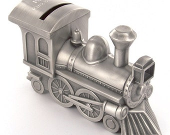 Personalized Pewter Train Money Bank - Train Piggy Bank & Coin Bank Children gifts Engraved