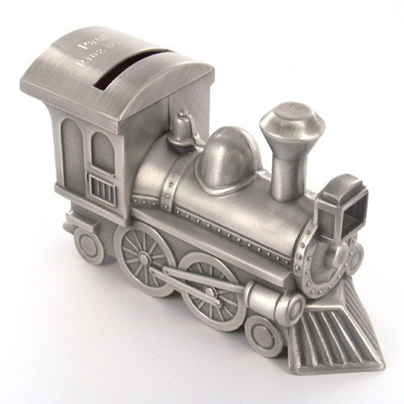 Personalized pewter train money bank train piggy bank coin - Train piggy banks ...