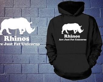 Rhinos Are Just Fat Unicorns Hoodie Hooded Fleece Sweatshirt Funny Unicorn