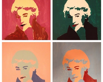 Pop Art Bea Arthur Acrylic painting on 12x12 canvas Set of 4
