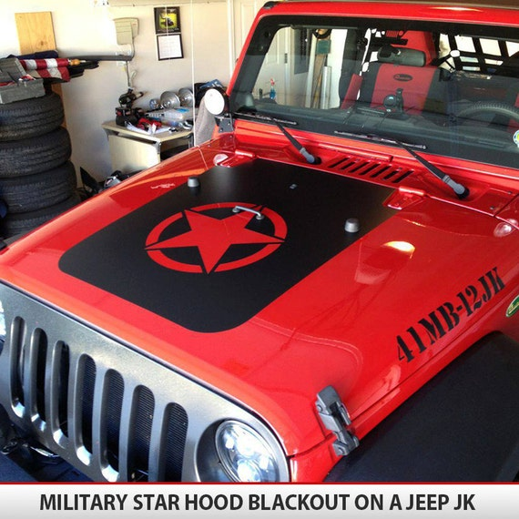 Custom invader style military star jeep hood blackout decal for Custom jeep lettering