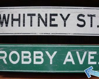Custom, Personalized, Metal Street Sign. Vintage Green or White.