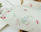 Laminated Cotton Fabric French Flower Light Pastel Green