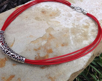 Red Leather Necklace,  Statement Necklace,Leather necklace,Silver Necklace,