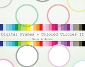 56 Circle Digital Frames Clip Art ClipArt - Commercial Use - Instant Download - Rainbow R306