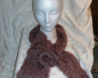Fashion Scarf in a Mauve with Sparkles, Basket Weave Pattern, Hand Knitted, Fashion Accessory, Women, Winter Accessory, Eyelash Yarn